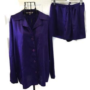 Victorias Secret Purple 2 Pc Satin Pajamas